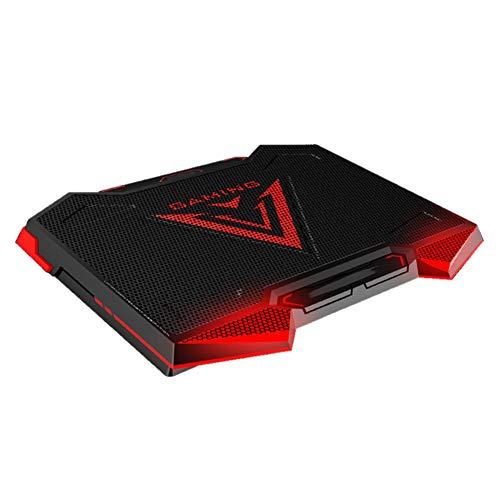 (elegantstunning Laptop Cooler 5 LED Fans Aluminium Cooling Notebook Pad Silent Dual USB Speed Control Base Cooler Pad Black red )