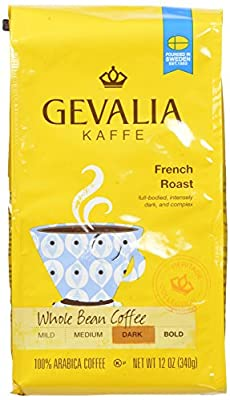 Gevalia French Roast, Whole Bean Coffee, 12 Ounce (Pack of 6)