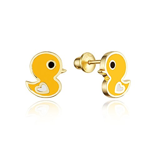 14k Gold Plated Enamel Chick Baby Girls Screwback Earrings with Sterling Silver Post