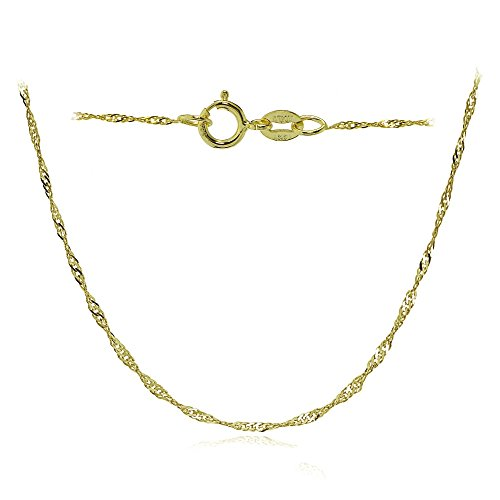 Bria Lou 14k Yellow Gold .9mm Italian Singapore Chain Necklace, 24 Inches by Bria Lou