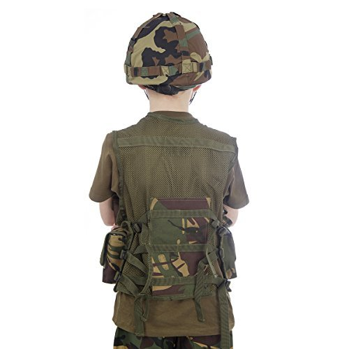 Soldier Outfit (Kids Camo Helmet & Assualt Vest - Fancy Army Soldier Fancy Dress Up Costume Outfit - Fits ages 5-12 by ToyMarket)