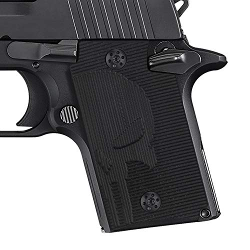Cool Hand G10 Grips for Sig Sauer P938, Free Screws Included, Punisher Skull Texture, Black G10,H4-SK-1 (P938 Grips Sig)
