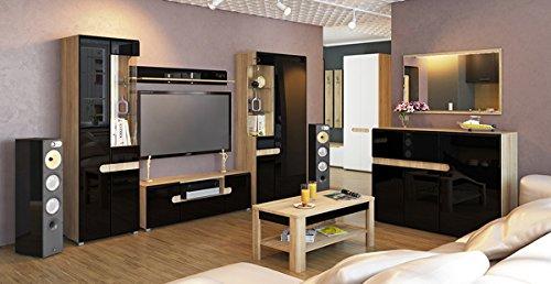 wohnzimmer Sideboard Kommode 140cm sonoma eiche schwarz Hochglanz 6515