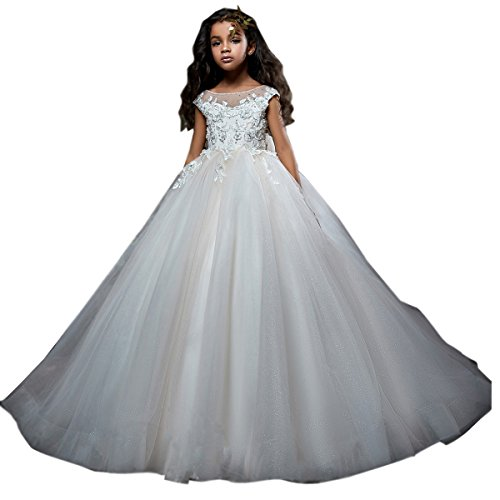 Qianruidia Ball Gown Lace up Flower Wedding First Communion Girl Dresses