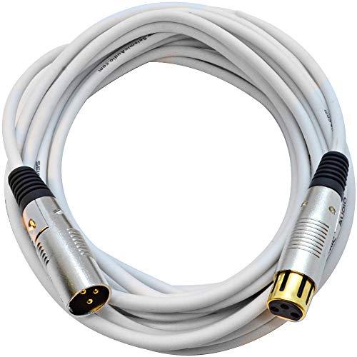25' Cable Premium Microphone (Seismic Audio Premium 25 Foot White XLR Microphone Cable 3 Pin XLRF to XLRM Mic Cord (SAPGX-25White))
