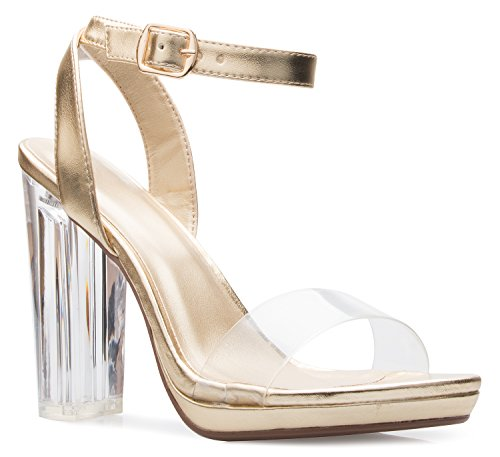 d18c9a87f2b OLIVIA K Women s Strappy Open Toe Clear Ankle Straps Perspex Lucite Clear  Block Heel Sandal