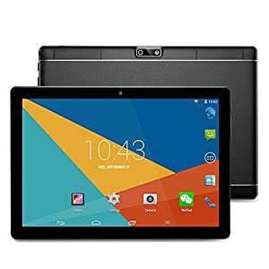 10.1 inch Tablet Android 6 Wifi Unlocked 3G Phone Tablet PC 1GB+16GB MTK 6580 Quad-Core IPS Screen 1280x800 Dual camera Cell phone Support 2G 3G Wifi Dual SIM Card Bluetooth (Black)
