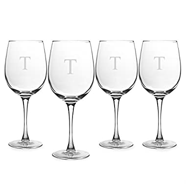 Cathy's Concepts Personalized 19 oz. White Wine Glasses, Set of 4, Letter T