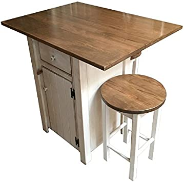 Amazon Com Small Kitchen Island Set With 2 Bar Stools Counter Height Amish Made In Usa Furniture Decor