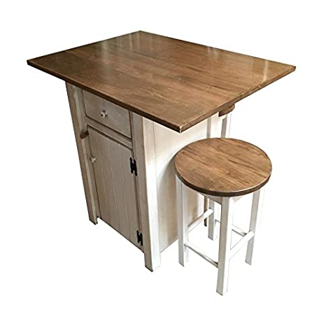 Pleasant Amazon Com Small Kitchen Island Set With 2 Bar Stools Machost Co Dining Chair Design Ideas Machostcouk