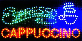 Ultra Bright LED Neon Light Animated Coffee Espresso Cappuccino sign By