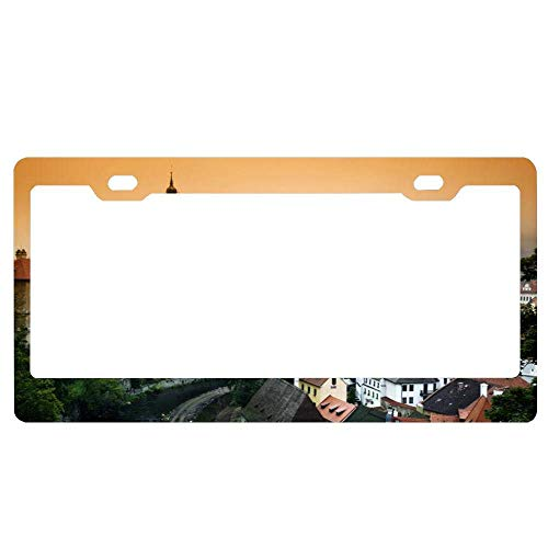 YEX Abstract Cesky Krumlov Castle in The Czech Republic License Plate Frame Car License Plate Covers Auto Tag Holder 6
