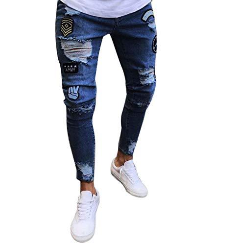 Hommes En extensible Jeans Denim Bleu Foncé Streetwear Ajustée Effiloché Tomatoa D'été Effiloché Coupe Pantalon détresse Jeans Sport Déchiré nxXFwUd7