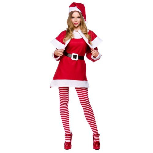 Mrs Santa Claus + Tights Ladies Fancy Dress Christmas Festive Womens Costume Plus Size UK 16-20 by Mega Fancy (Mrs Claus Plus)
