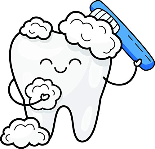 Cute Adorable Happy Smiling Tooth Cartoon - Cleaning Toothbrush Vinyl Sticker (4
