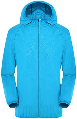 Sinzelimin Mens Watertight Front-Zip Hooded Rain Jacket-Mens Women Casual Jackets Windproof Ultra-Light Rainproof Windbreaker Top