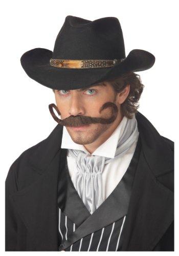 Brown, Std Size Adult Gunslinger Costume Moustache for Men -