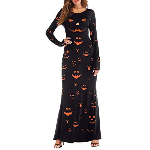 Wobuoke Women Long Sleeve Pumpkins Devil Halloween 4D Print Casual Party Fun Long Maxi Dresses -