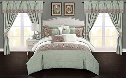 Chic Home Sonita 20 Piece Comforter Set Color Block Floral Embroidered Bag Bedding-Sheets Window Treatments Decorative Pillows Shams Included, Queen, Sage