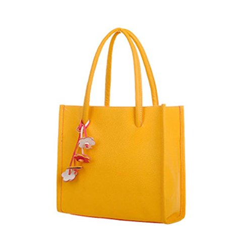 Fulltime(TM) Fashion Elegant Girls Handbags Leather Shoulder Bag Candy Color Flowers Women Tote Yellow