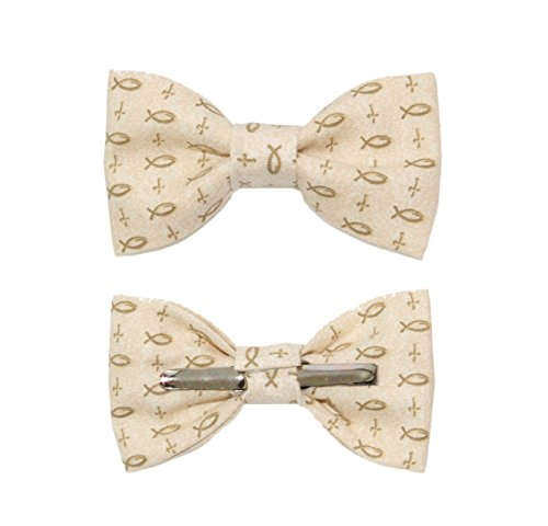 Toddler Boy 4T 5T Christian Cross / Fish Clip On Cotton Bow Tie Bowtie ()