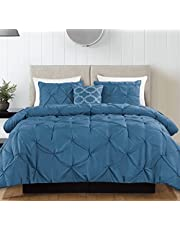 Queen Comforter - 4 Piece Bedding Down Alternative Comforter Set - Includes 2 Pillow Shams and 1 Decorative Pillow - Hypoallergenic and Ultra Soft - Luxurious Pinch Pleat Design - by Casa Platino
