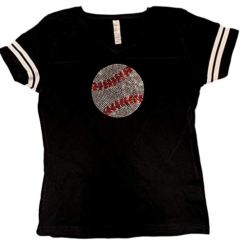Womens Tee Rhinestone - FanGarb Womens/Girls Rhinestone Bedazzled Black Baseball v-Neck tee Shirt Small