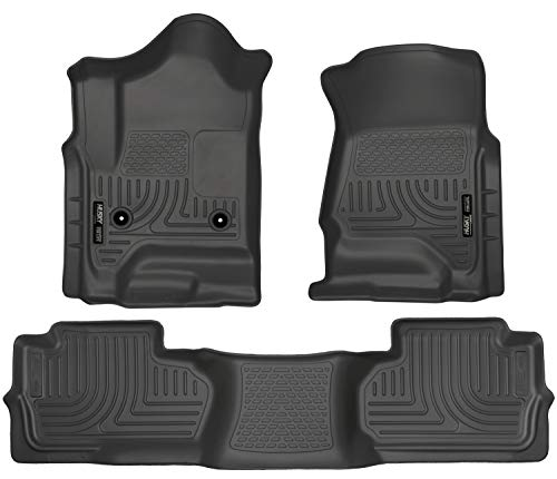 Husky Liners 98241 Black Weatherbeater Front & 2nd Seat Floor Liners Fits 2014-2018 Chevrolet-GMC Silverado/Sierra 1500 Double Cab, 2019 Chevrolet-GMC Silverado/Sierra 1500 Legacy, 2015-2019 Chevrolet Silverado 2500/3500 HD Double Cab (Chevrolet Silverado 2500)