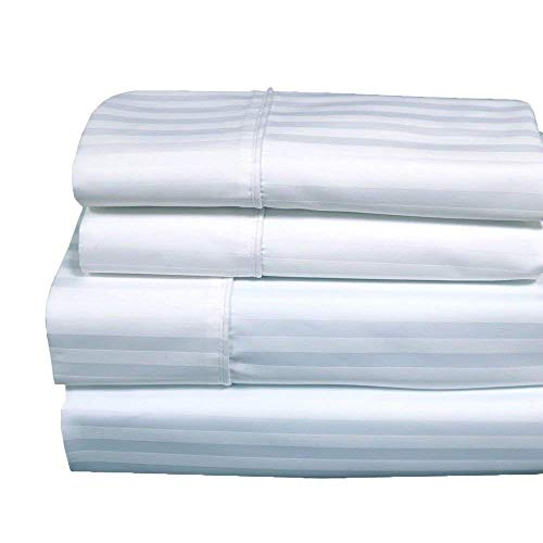 Royal Hotel 620-Thread-Count Sheet Set, Wrinkle-Free Cotton-Blend Sheets, Sateen Striped, Deep Pocket, Split-King: Adjustable King Size, White