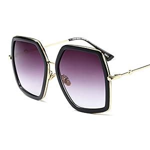Oversized Geometric Sunglasses for Women (Black, 60)