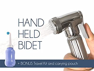 Barrantyne Bidets - Luxurious Handheld Bidet Sprayer - includes Portable Travel Bidet- Premium Stainless Steel Diaper Sprayer Shattaf - Complete Set for Toilet, Hand Sprayer for Bidet Toilet