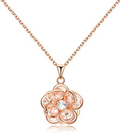 NEWBARK Cute Flower 18k Rose Gold Plated Crystal Women Pendant Necklace, 20.28