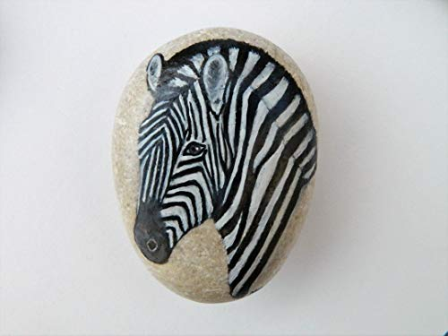 (Zebra Hand Painted on a Smooth Spanish Beach Rock )