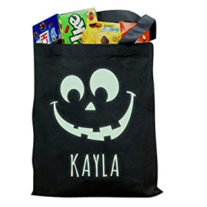 GiftsForYouNow Halloween Glow In The Dark Personalized Trick or Treat Bag