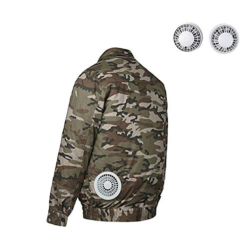 HomeYoo Cooling Air Conditioned Jacket, Sun Protective Cooling Clothes, Double Fan Adjustable Men's Cooling Fan Jacket, for High Temperature Outdoor Summer Work (Camouflage, L) (Air Conditioned Jacket)
