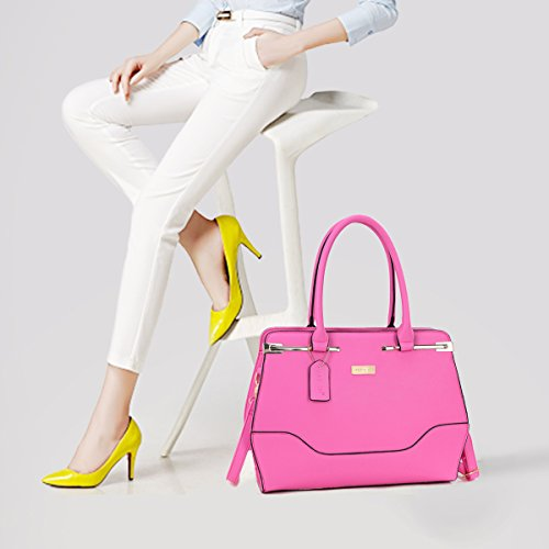 Top Handle Handbag Zip Purse Fashion Shoulder Bag Structured Crossbody Satchel Vegan Leather Blue by Dasein (Image #2)