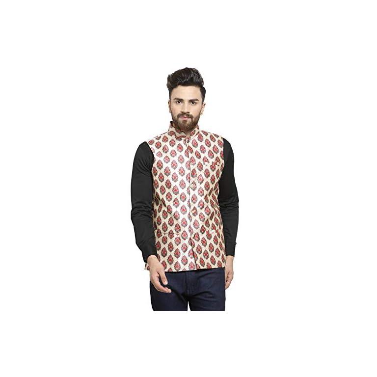 41hKEmaRzNL. SS768  - Ben Martin Men's Dupion Silk Nehru Jacket Waistcoat-(BM-WS-Printed-JAIPURI)