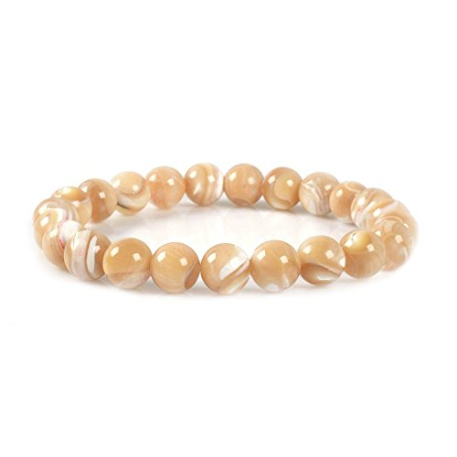 Natural Khaki Mother Of Pearl Shell Gemstone 8mm Round Beads Stretch Bracelet 7