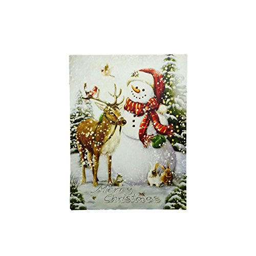 Northlight LED Lighted Vintage Inspired Snowman and Reindeer Christmas Canvas Wall Art 15.75