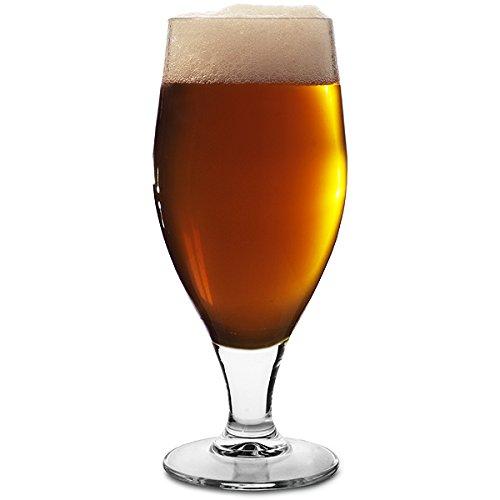 Cervoise Stemmed Beer Glasses 11.3oz / 320ml - Pack of 6 | 32cl Glasses, Stemmed Lager Glasses, American Pokal -
