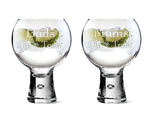 Personalised Large Pair of Thick Stem Gin Glasses 540ml, Engraved Gift County Engraving