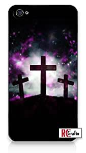 Three Crosses trinity Outer Space Galactic iPhone 5 Quality Hard Snap On Case for iPhone 5/5s - AT&T Sprint Verizon - Black Frame