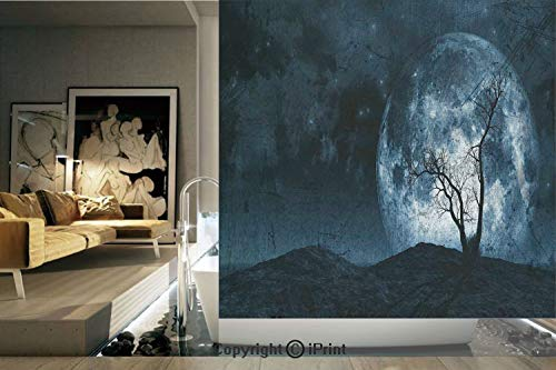Decorative Privacy Window Film/Night Moon Sky with Tree Silhouette Gothic Halloween Colors Scary Artsy Background/No-Glue Self Static Cling for Home Bedroom Bathroom Kitchen Office Decor Slate Blue -