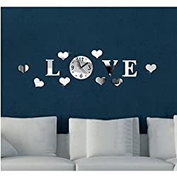 Joinwin® Love Hearts 8 Hearts Mirror 3d DIY Wall Clock Acrylic Silver Color Creative Modern Wall Sticker Home Decor Decoration