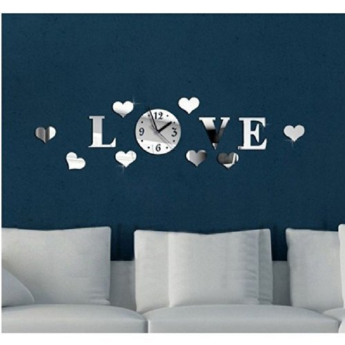 Joinwin® Love Hearts 8 Hearts Mirror 3d DIY Wall Clock Acrylic Silver Color Creative Modern Wall Sticker Home Decor Decoration (Mirror Bamboo Sunburst)