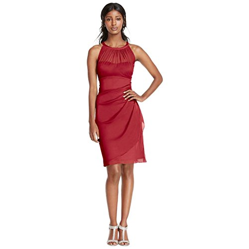Sleeveless Short Mesh Bridesmaid Dress with Side Cascade Style F15612, Apple, 4 - Side Cascade
