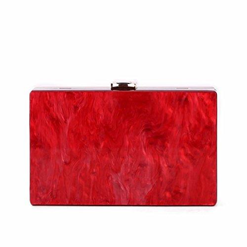 Clutchs New Desiger Red Purse Evening Pure Color Women Fashion EROUGE Clutch Acrylic Handbags wqYF11B