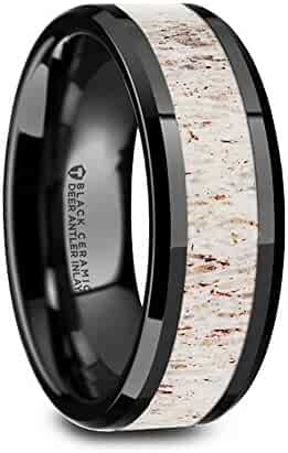 Thorsten STAG Black Ceramic Wedding Ring with Off White Deer Antler Inlay and Polished Beveled Edges Comfort Fit Lightweight Durable Wedding Band by Rings - 8mm