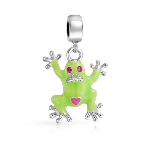 Green Prince Frog Shape Dangle Charm Bead For Women Teen 925 Sterling Silver Fits European Bracelet
