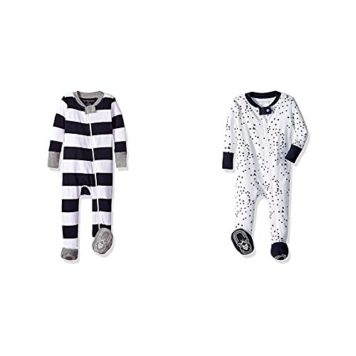 Gray Sleeper - Burt's Bees Baby Baby Boys' 2 Pack Non-Slip Footed Sleeper Pajamas, Midnight Rugby Stripe/Midnight Twinkle Bee, 3-6 Months